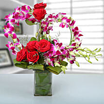 Rose and Orchid Arrangement: Republic Day Flowers Delivery