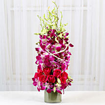 Roses And Orchids Vase Arrangement: New Year Flowers
