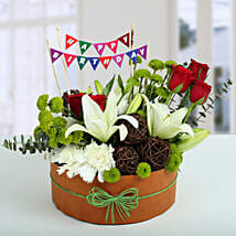 Roses N Lilies Vibrant Arrangement: Exotic Flowers