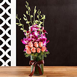 Roses & Orchids Vase: Purple Flowers