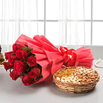 Roses with dryfruits: Flower N Dry Fruit