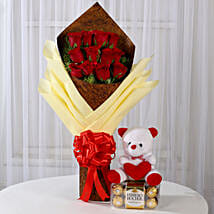 Roses with Teddy Bear & Ferrero Rocher Box: Combos