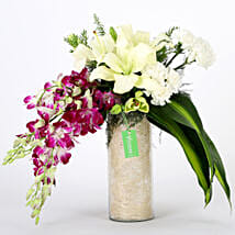 Orchids & Carnations Vase Arrangement: Send Anniversary Gifts for Him