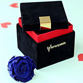 Royal- Forever Blue Rose in Velvet Box: Congratulations