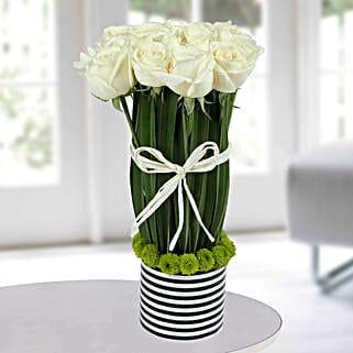 Serene White Rose Arrangement: White Roses
