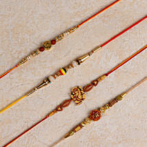 Set of 4 Designer Rakhis: Rakhi to Osmanabad