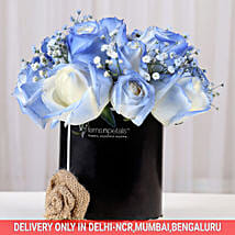 Shaded Love- Blue Roses Arrangement: Diwali Gifts to Vasai