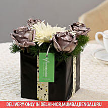 Silver Roses & Gerbera Floral Box: Exotic Flowers
