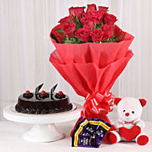 Roses with Teddy Bear, Dairy Milk & Truffle Cake: Gifts Delivery In Satya Niketan
