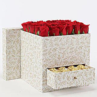 Stylish Box Of Red Roses & Chocolates:
