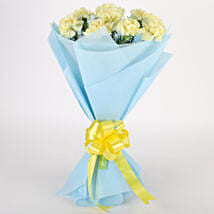 Sundripped Yellow Carnations Bouquet: Valentine Flowers Bengaluru