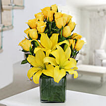 Yellow Roses & Asiatic Lilies Vase Arrangement: Send Valentine Flowers to Nagpur