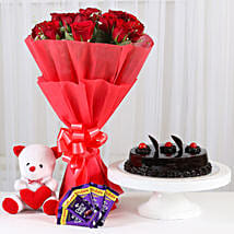 Red Roses Romantic Combo: Send Flowers & Teddy Bears to Hyderabad