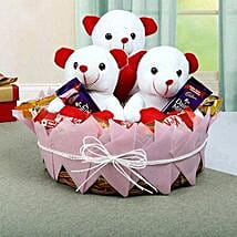 Teddy and Chocolate Basket: Soft Toys Gifts