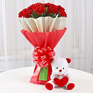 Teddy Bear & 12 Red Carnations Bouquet: Flowers & Teddy Bears for Birthday
