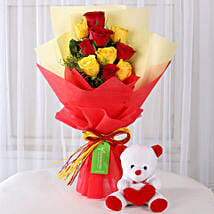 Teddy Bear with Red & Yellow Roses: Flower N Teddy