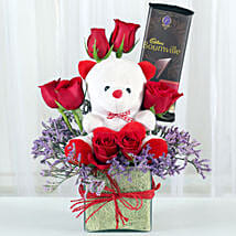 Teddy With Roses: Chocolate Bouquet for Birthday