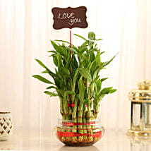 Three Layer Lucky Bamboo With Love You Tag: