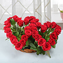 Two Red Hearts As One Basket Arrangement: Anniversary Gifts for Parents