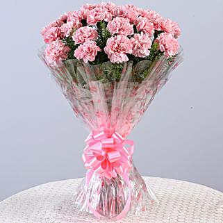 Unending Love-24 Light Pink Carnations Bouquet: Send Carnations