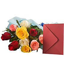Mix Roses N Greeting Card: