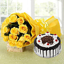 Yellow Roses Bouquet & Black Forest Cake: Gifts Delivery In Jahangirabad