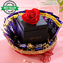 Forever Red Rose Chocolatey Basket: Best Seller Flowers