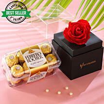 Red Forever Rose With Ferrero Rocher: Buy Flowers Combo