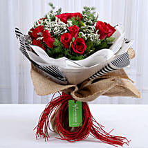 Vibrant 20 Red Roses Bouquet: Valentines Day Flowers