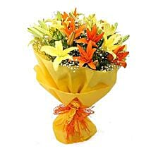 Vibrant Lilies Bouquet: Send Romantic Flowers for Boyfriend