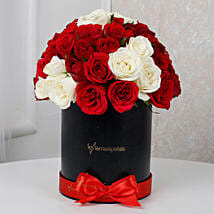 White & Red Roses Box Arrangement: Christmas Gifts