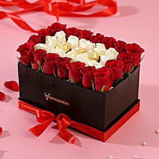 White & Red Roses Love Box:
