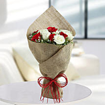 White Roses N Red Roses Bunch: Fathers day Flower Bouquets