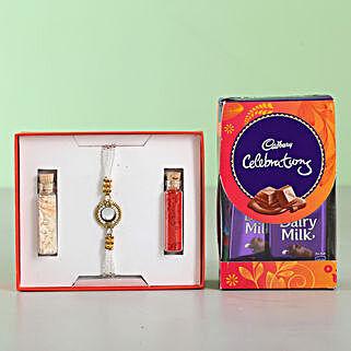 White Stone Rakhi & Cadbury Celebrations: Rakhi Gifts for Brother