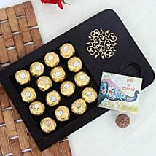Wooden Tray Of Rocher Chocolates: Send Bhai Dooj Gifts to Ranchi