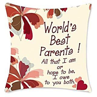 Worlds Best Parents cushion: Home Decor to Bengaluru
