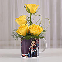 Yellow Roses in Personalised Mug: Flowers N Personalised Gifts
