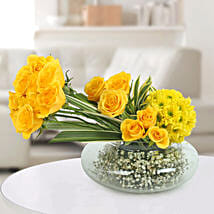 Yellow Roses N Daisies Arrangement: Karwa Chauth Gifts for Bahu