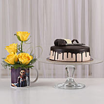Yellow Roses Picture Mug & Chocolate Cake: