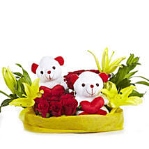 You & Me- Teddy Bear with Roses & Lilies: Flowers & Teddy Bears for Propose Day