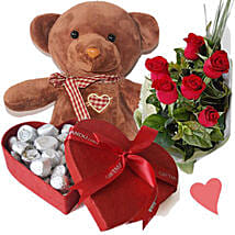 Dark Brown Teddy Bear Chocolates Box and Roses: Send Valentine Gifts to Nepal