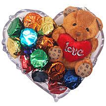 Gourmet Chocolate And Love Teddy Gift Tray: Send Valentine Gifts to Nepal