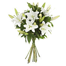 Exotic White Lilies Bouquet: Funeral Flowers to New Zealand