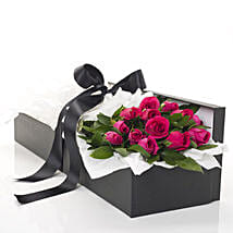Pink Roses In A Box: Anniversary Flowers to New Zealand