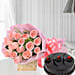 Pink Roses with Cake - Bouquet of 10 pink roses with in paper packing and 500 grams of chocolate truffle cake.