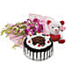 You are Always Special - Bunch of 6 purple Orchids with 500gm blackforest cake and a cute teddy