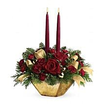 Crimson and Gold Centerpiece: Mothers Day Gifts to Singapore