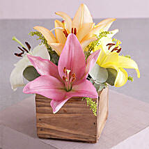 Wooden Variety Lily Blossoms: Gift Delivery in South Africa