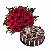 1 Dozen Roses with Cake: Mothers Day Flower and Cakes to Dubai