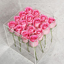 16 Light Pink Roses In Acrylic Base: Flowers for Anniversary